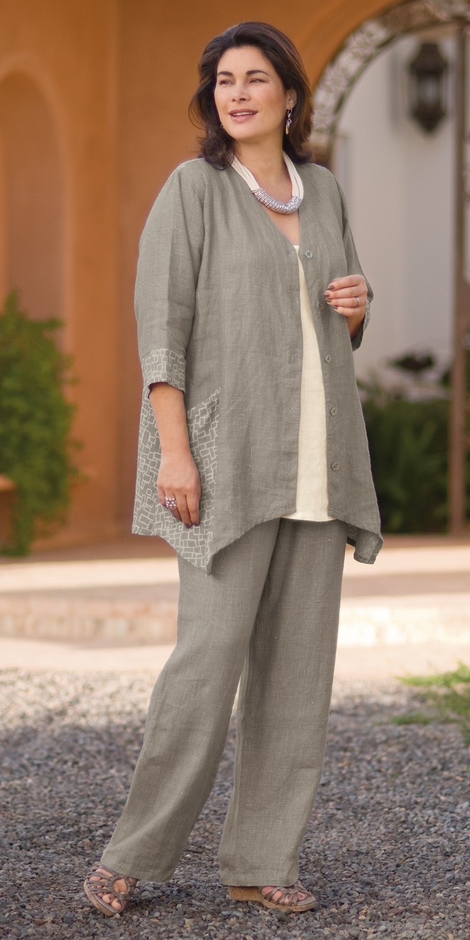 Kasbah taupe/cream linen combi button jacket, cream plain linen vest and taupe trouser