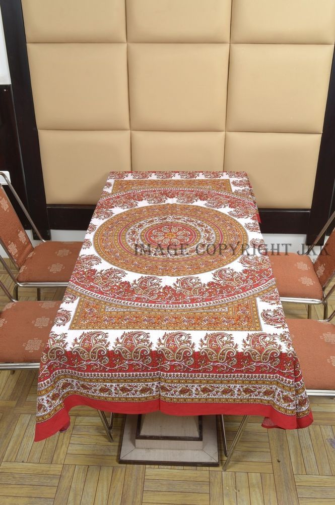 Red Multicolor Table Cover Floral Mandala Printed Dinning Bohemian Indian IWUS