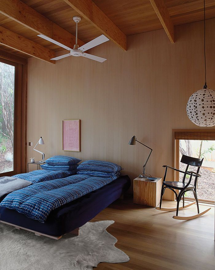 Australian master bedroom with Thonet rocking chair