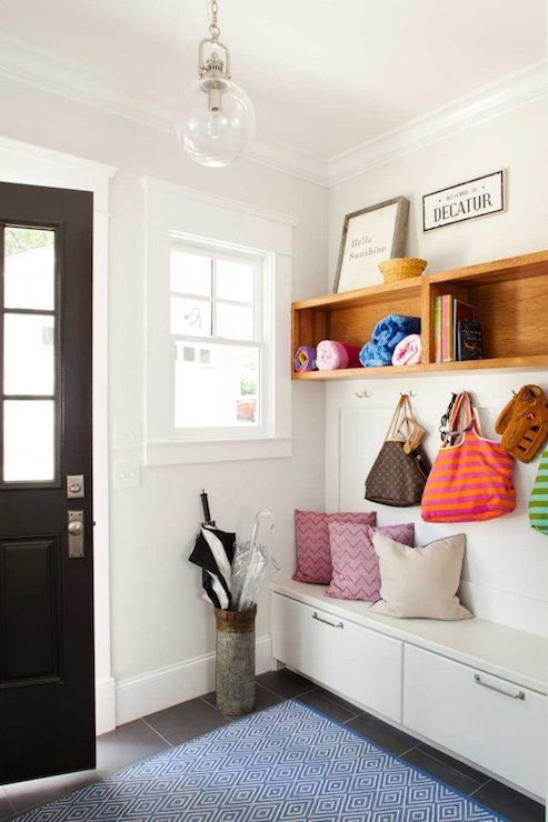 TerraCotta Properties: Fantastic mudroom with Dash & Albert Diamond Denim/White Indoor/Outdoor Rug and built-in ...
