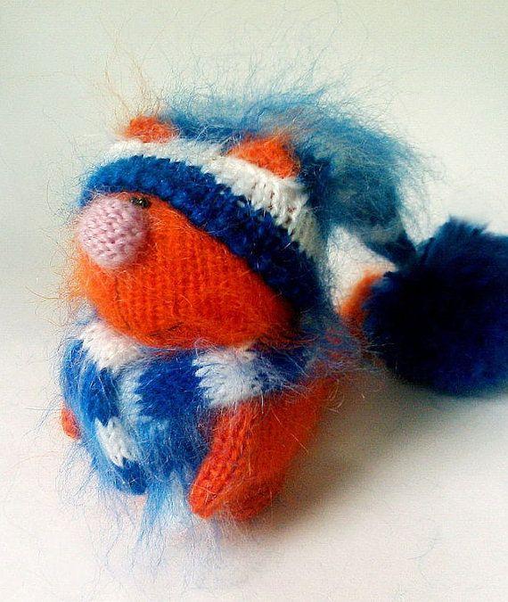 Orange Cat  Knitted cat toy Cute Miniature cat от MiracleStore