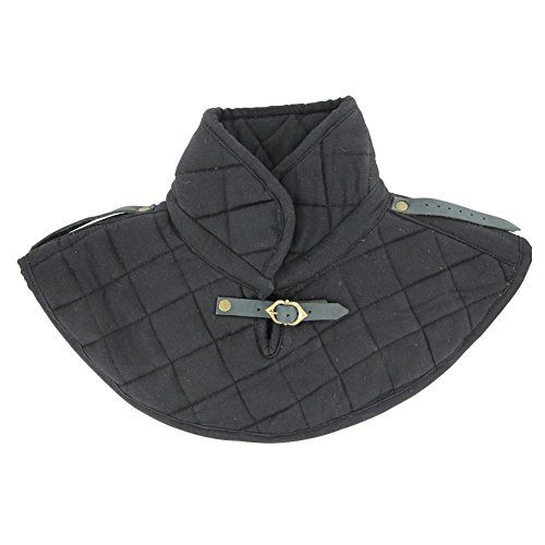 Medieval Renaissance Armor Padded Arming Cap Collar Head Neck Cotton Black SCA
