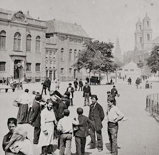 Jewish neighbourhood Amsterdam, ca 1890.  (Jonas-Daniel Meijer Place with synagoge)