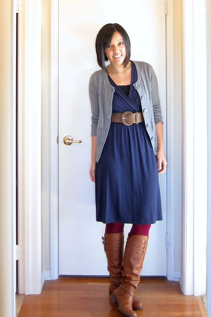 Putting Me Together: An Ode to E. Blue dress grey cardigan red tights boots