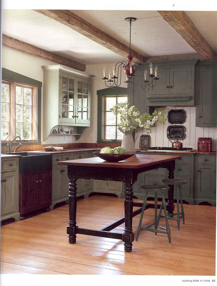 kitchen designs pinterest. Put fake beams across top Such a cozy kitchen  Wonderful beam ceiling and I even like the two shades of green cabinets Best 25 Colonial ideas on Pinterest Country american