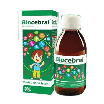 Biocebral sirop - 150 ml - recomandat copiilor de la 1 an, pentru: Buna funcționare a sistemului nervos Creșterea concentrării și atenției Reducerea oboselii și extenuării