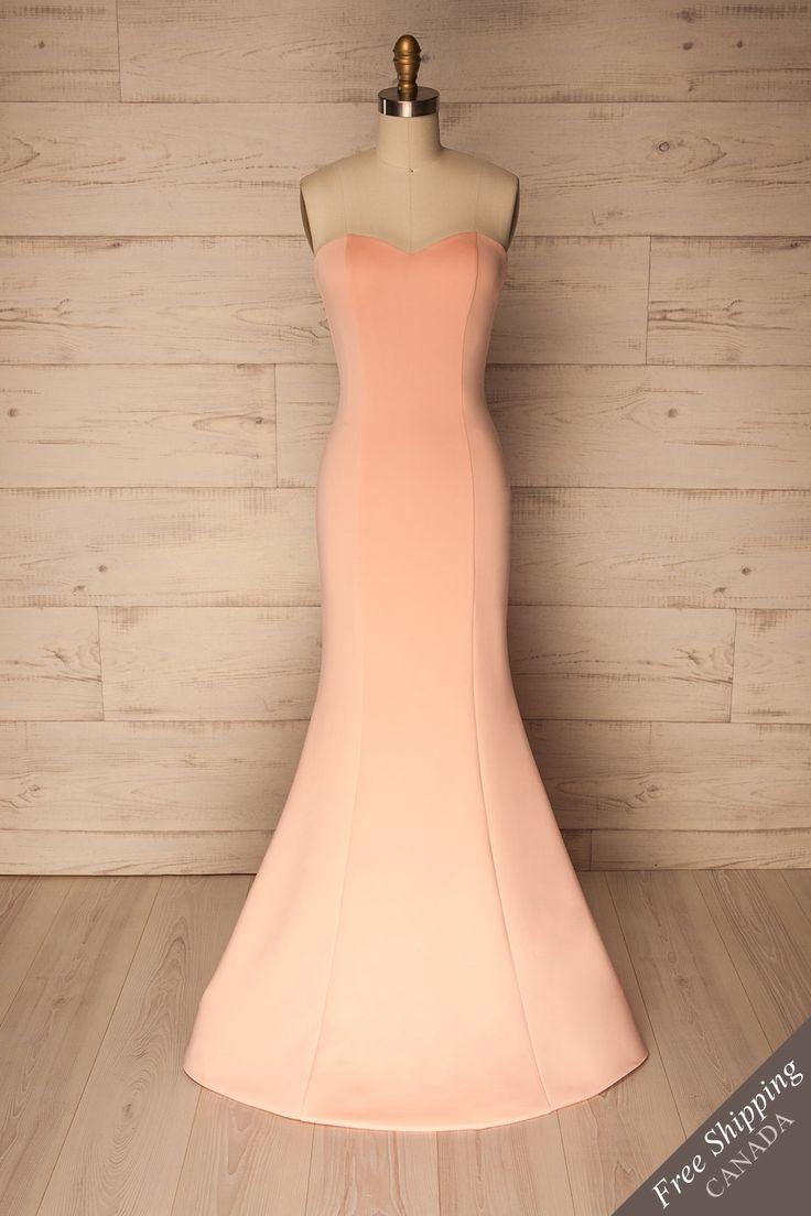 Light pink strapless mermaid silky gown - Robe de soirée sirène rose pâle satinée à bustier