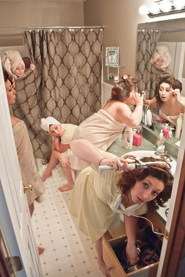 funny wedding photo idea that getting ready the morning of wedding day
