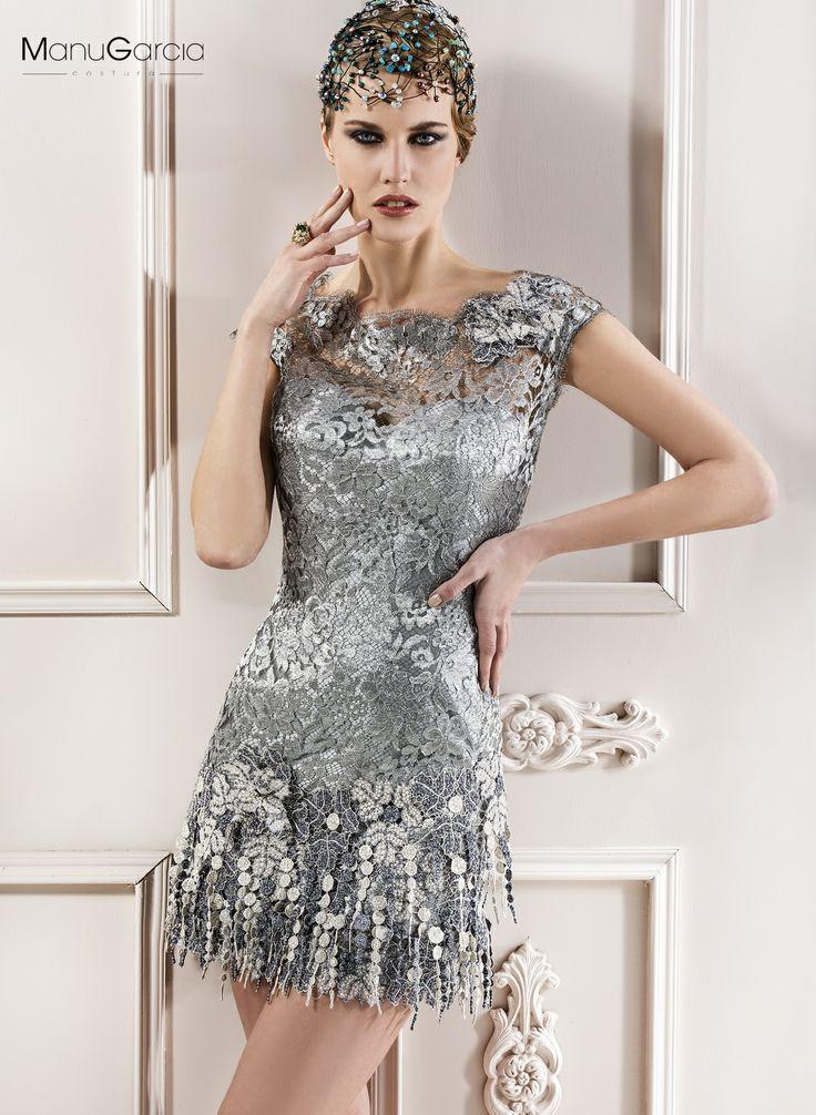Vestido en chantilly y plata laminado corto de inspiraci n a os 20 colecci n 2014 manu garcia - Fiesta anos 20 ...