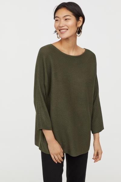 f8989af26c1 Rib-knit Sweater - Moss green - Ladies