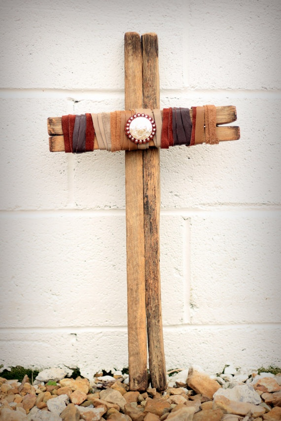 Tobacco Stick Wood and Leather Cross by HorsewaresLeather on Etsy, $25.00
