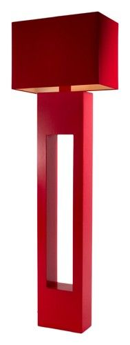The red shangilla rectangular floor standing lamp is a gallant and adds a spatter of lively colour to your room.  Having a geometric design with a height of 151 cm, the lamp has vivid red, hand-stitched cotton shade. | retailfurniture