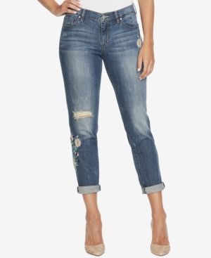 Jessica Simpson Juniors' Mika Embroidered Girlfriend Jeans - Blue 26