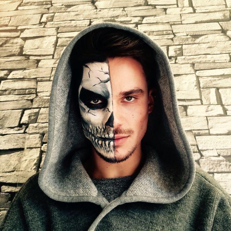 maquillage squelette visage homme