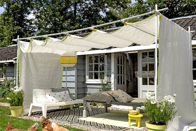 Spending time in your backyard often means exposure — to the sun certainly, and often the curious gaze of your neighbors. Beat the heat and find some privacy with these DIY canopies, awnings and sun shades.