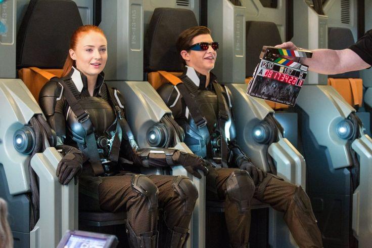 BTS of X-Men: Apocalypse. Sophie and Tye in the X-Jet set, in their X-Men uniforms as Jean Grey/Phoenix and Scott Summers/Cyclops