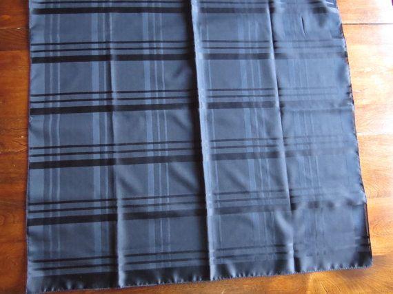 Vintage BLACK SATIN SCARF Stripes Shabby by CreativeWorkStudios
