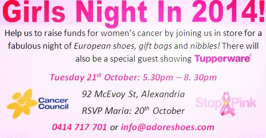 GIFT BAGS, SHOES AND NIBBLES <3 join us to help raise funds for cancer research 21st October 2014