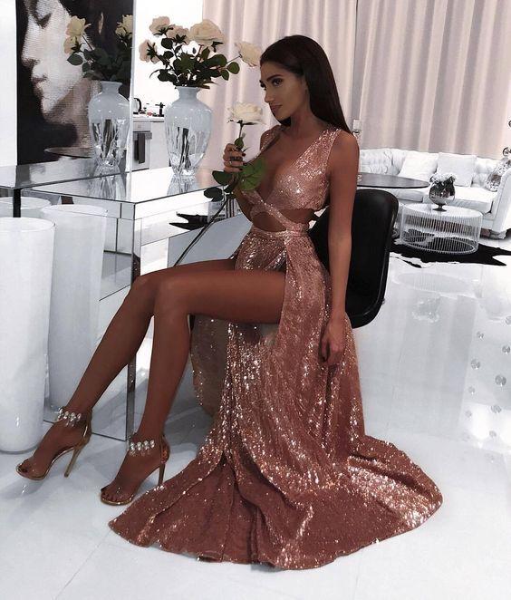 Evening Gown / Formal Dress / Prom Dress / Maxi Dresses / Unique Dress / pageant dress / sequin cut out dress