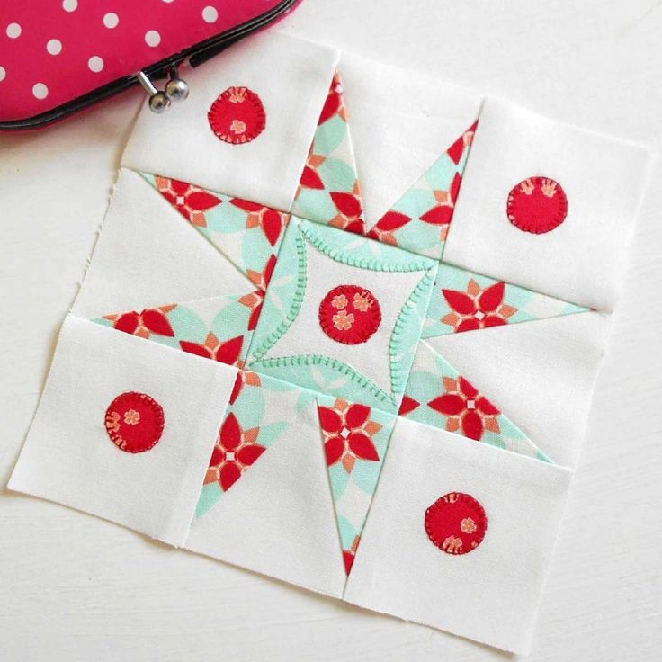 The Splendid Sampler block no. 72 - Full Circle Star.  Part paper-pieced, part patched and part appliqued.