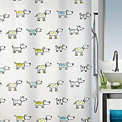 Spirella Cartoon Dog Waterproof PEVA Shower Curtain, Swiss Design Pet Shower Curtain, 180cm*200cm, Green
