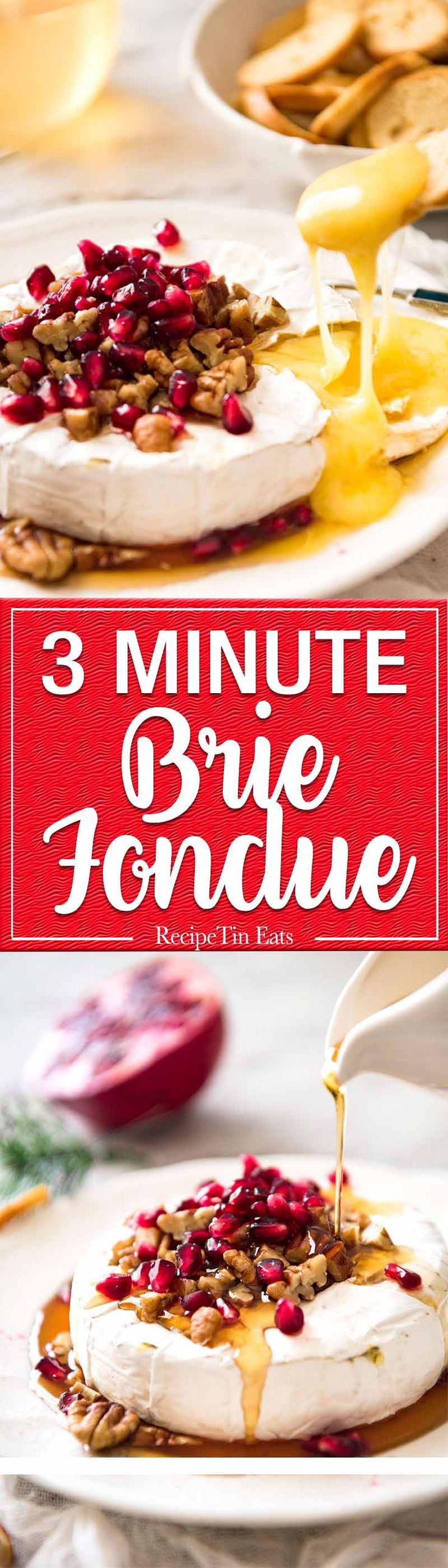 3 Minute Melty Festive Brie - Just microwave for 1 minute and you have an almost-instant baked brie appetizer! www.recipetineats...