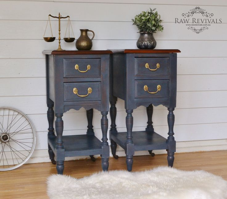Antique bedside tables painted in MMS milk paint 'Artissimo'.  www.rawrevivals.com.au