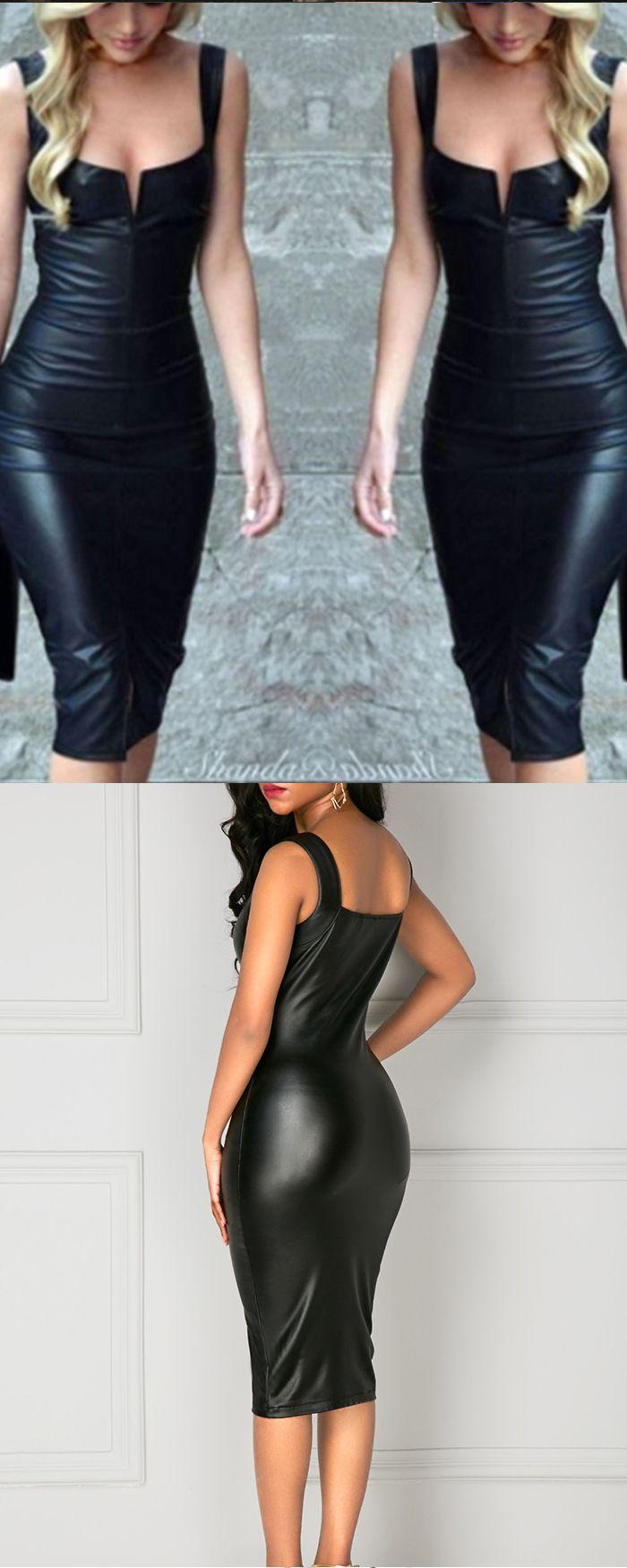 Square Black Leather Knee Length Bodycon Women Dress M684