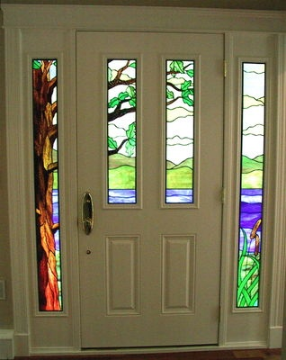 Stained glass sidelights and door by Phoenix Studio