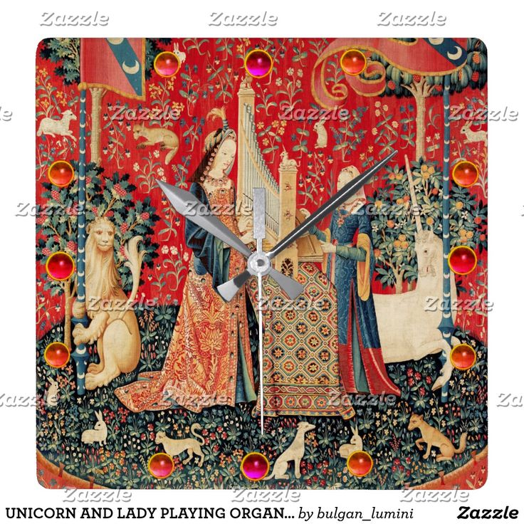 UNICORN AND LADY PLAYING ORGAN,ANIMALS Red Green Square Wall Clock #horses #homedecor #clocks #medieval #antique #music