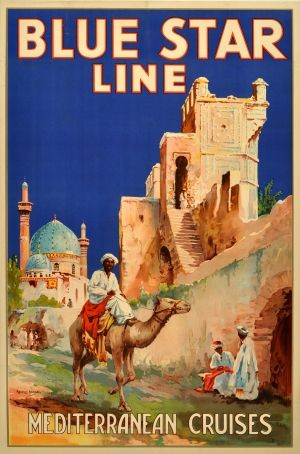 Blue Star Line Mediterranean Cruises, 1920s - original vintage poster by Maurice Randall listed on AntikBar.co.uk
