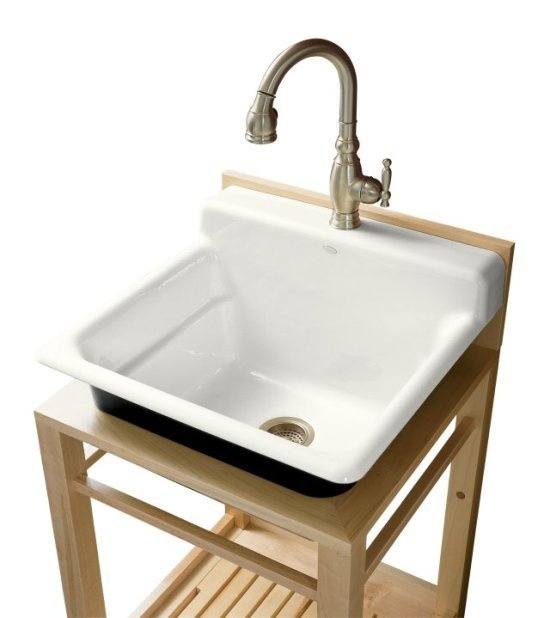 $862 Kohler K-6608-1P Bayview wood stand utility sink with single-hole faucet drilling on top of backsplash
