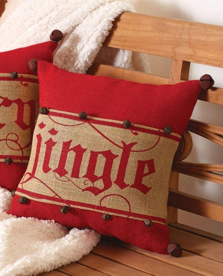 """Mud Pie """"Jingle"""" Bell Accented Pillow Wrap Red Burlap 15"""" Sq Pillow Insert New #MudPie"""