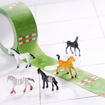 My First Horse Show Tape & Mini Horse: Create your own horse show with this fabulous, funky sticky masking tape for gifts, for play, for decoration.