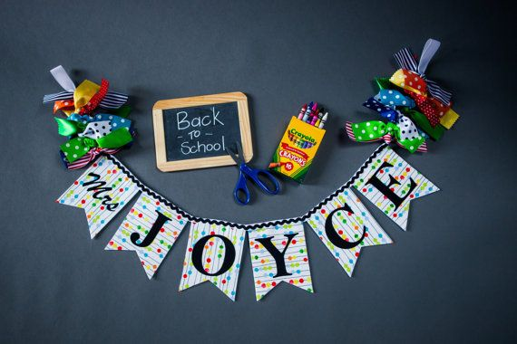 TEACHER NAME BANNER by Sweet Georgia Sweet / Fabric banner / Teacher name sign / Teacher name door sign / Teacher classroom decor / Teacher