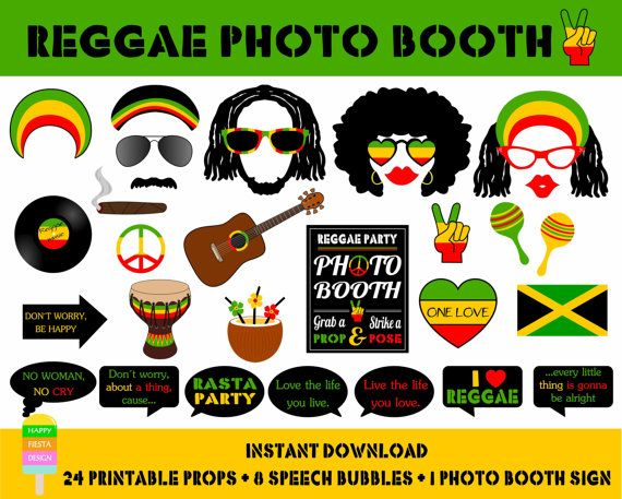 Instant download - DIY printable Reggae-Rasta Party photo booth props. Set of 33 pieces: 24 printable props, 8 speech bubbles, 1 photo booth