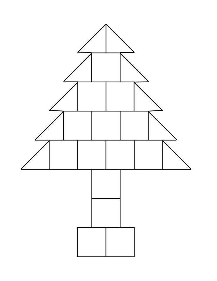 bouwvoorbeeld voor kerstboom liggend met blokken uit de bouwhoek