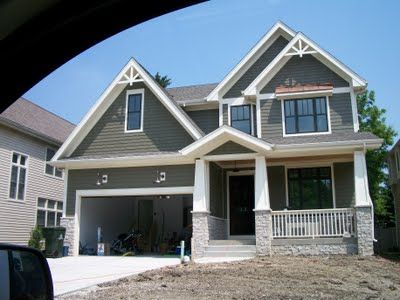 Green-Exterior-House-Paint. Split Level Addition Home Design Grey House Exterior Terior