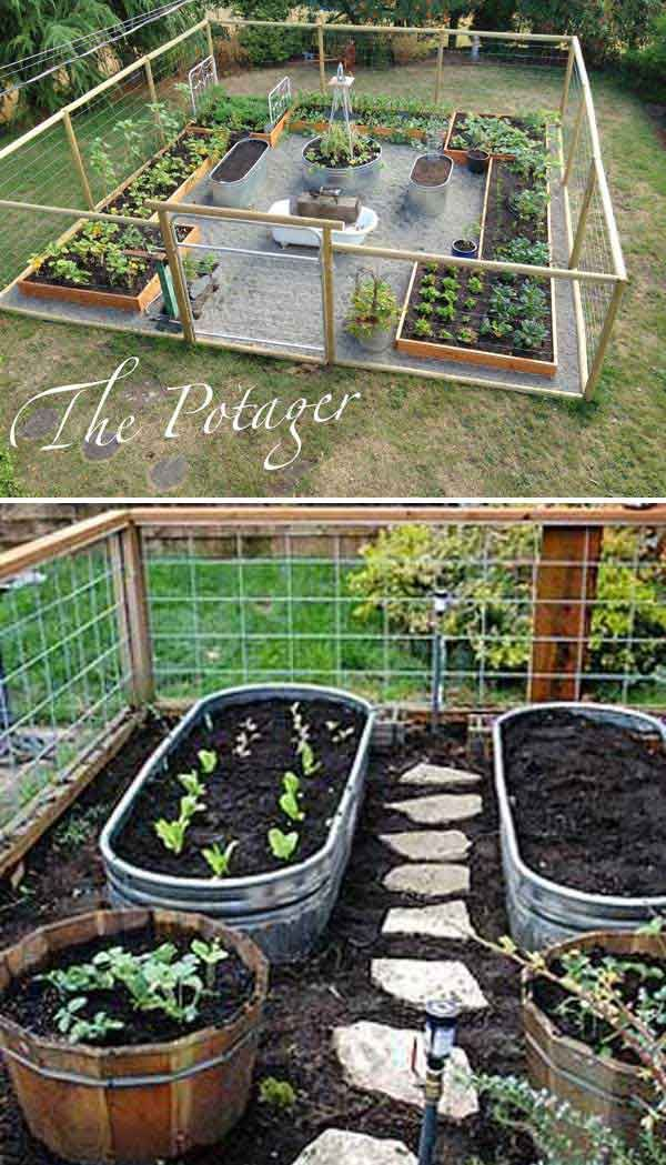 use metal trough as container for vegetable garden and install a path between your