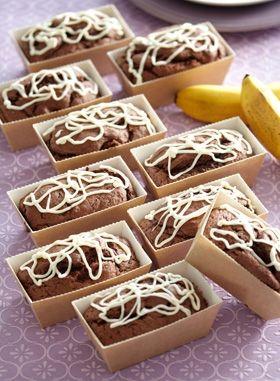 Opskrift på små chokoladekager med banan