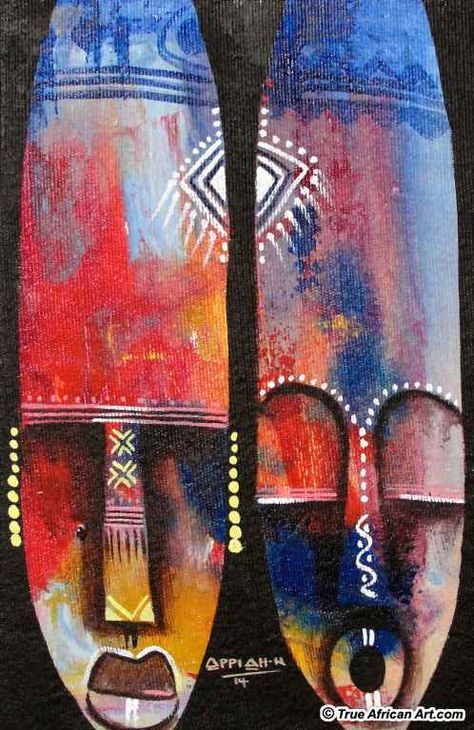 Ghanaian African abstract artist, Appiah Ntiaw - True African Art.com
