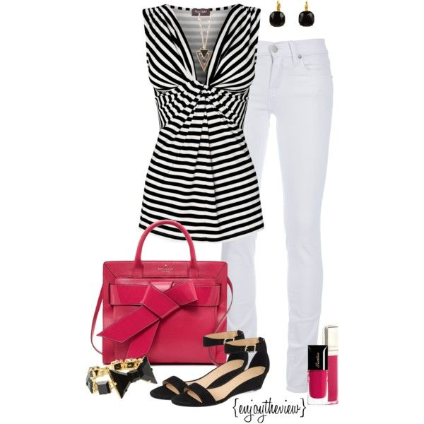 black, white, & hot pink by enjoytheview on Polyvore