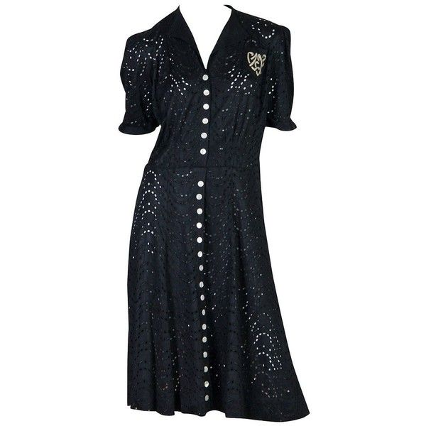 Preowned 1930s Jeanne Lanvin Adaptation Dress ($2,200) ❤ liked on Polyvore featuring dresses, black, day dresses, jeanne lanvin, eyelet lace dress, pre owned dresses, preowned dresses and embroidered dress