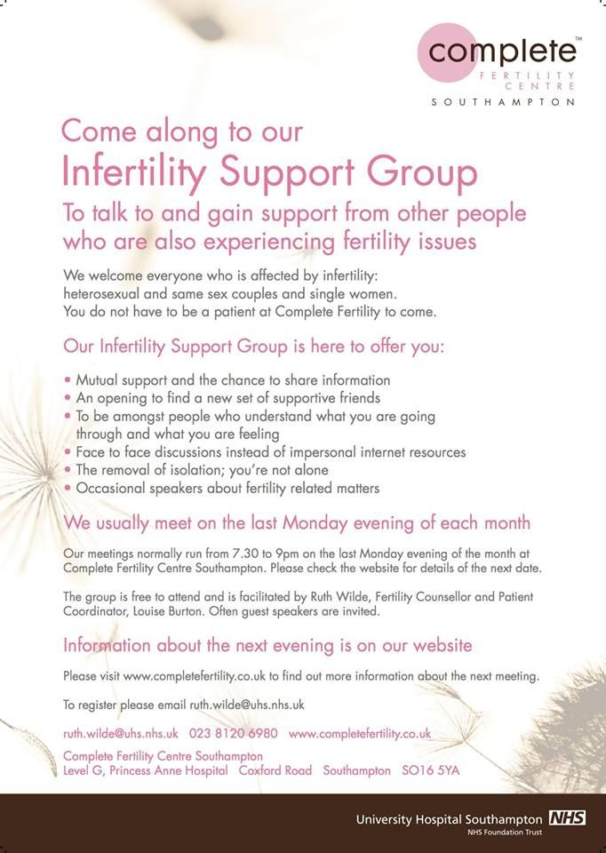 Infertility Support Group Meeting Every month Free to attend and open to everyone Faciltated by our Counsellor Ruth Wilde Register by emailing ruth.wilde@uhs.nhs.uk