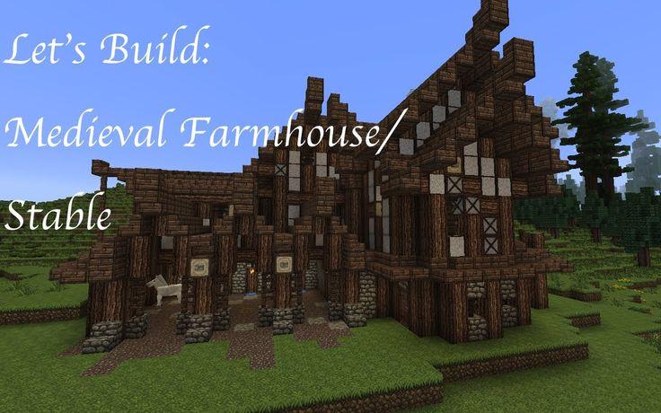 Minecraft Let's Build A Medieval Farm Farmhouse Stable
