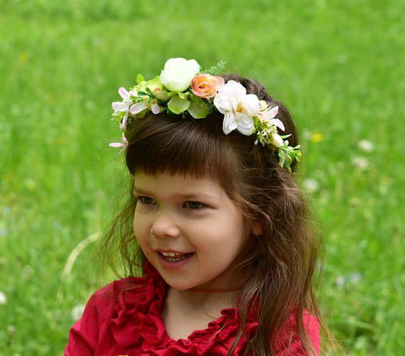 Ivory flower girl Pink floral crown Flower girl crown Baby floral crown Baby shower Baptism christening Wedding girl Blue flower crown Peach