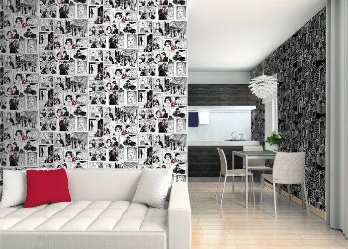 Carta Da Parati Fumetti Bianco E Nero.Galerie Comic Strip Retro Wallpaper In Black White And Red 422