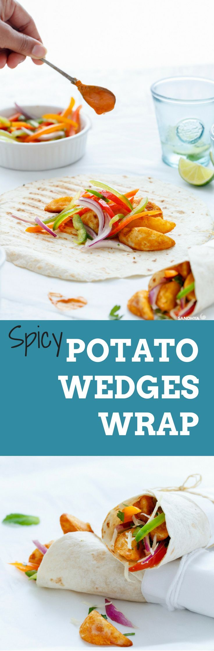 These SPICY POTATO WEDGES WRAP can be put together in a Jiffy. Jazz it up with Masala Ketchup and some Coriander Chutney.