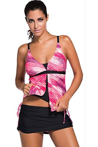 Chase Secret Womens Tankini Top With Skirted Bikini Bottom Swimsuit Set (M Rose)