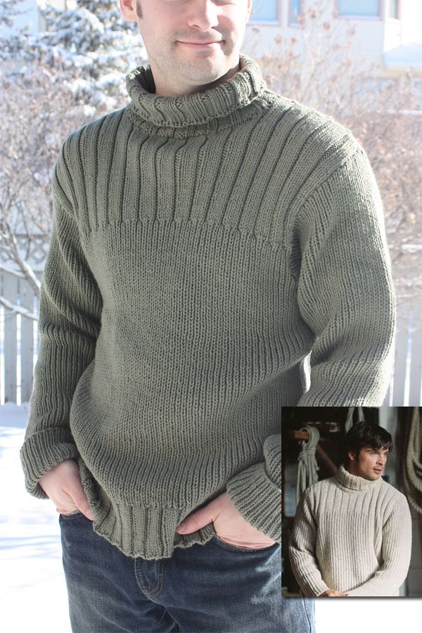 Free Knitting Pattern for The Fog Sweater - Tiennie modeled this sweater after the one worn by the Nick Castle character played by Tom Welling in The Fog movie. Pictured project by FiveSticks